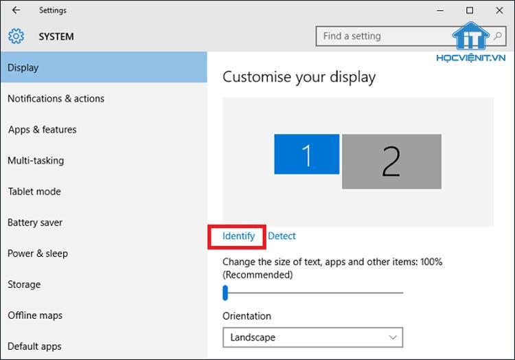 Nhấn chuột vào Identify để phân biệt 2 màn hình
