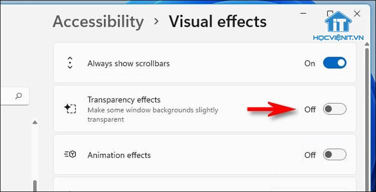 Chuyển Transparency Effects sang chế độ Off