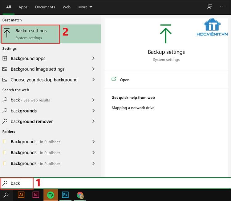 Tìm kiếm và chọn Backup settings