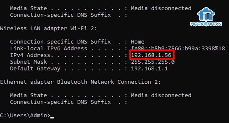 """Lưu lại IP của phần """"IPv4 Address"""""""