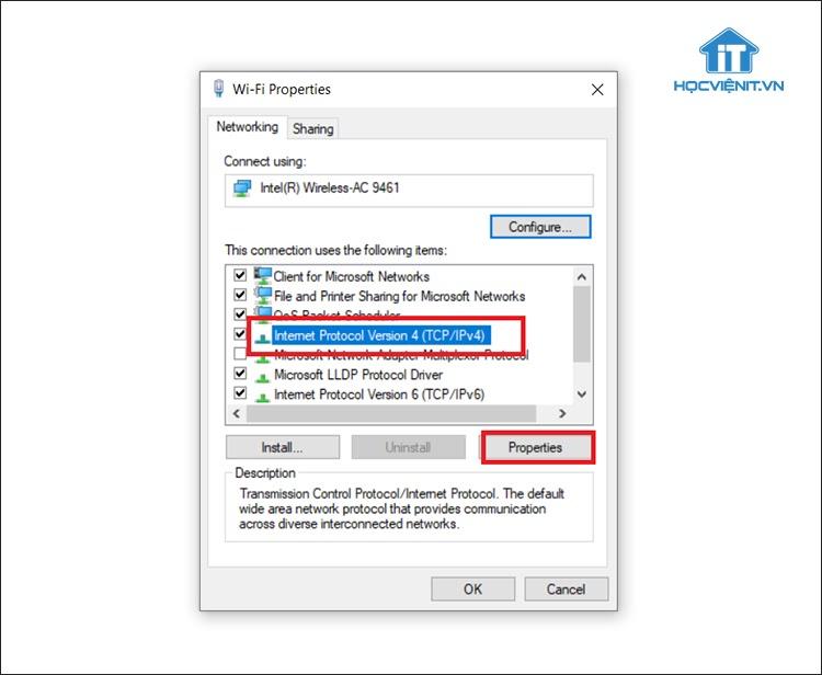 Chọn Protocol Version 4 (TCP/Ipv4) và tiếp tục chọn Properties
