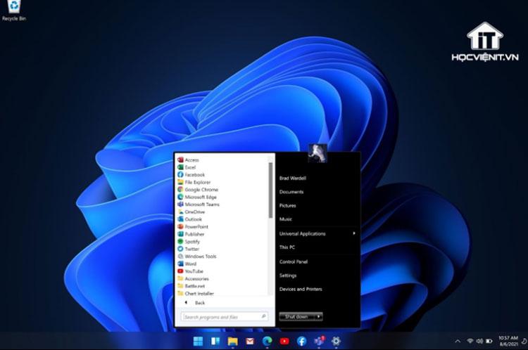 Menu Start kiểu Windows 7 của Start11
