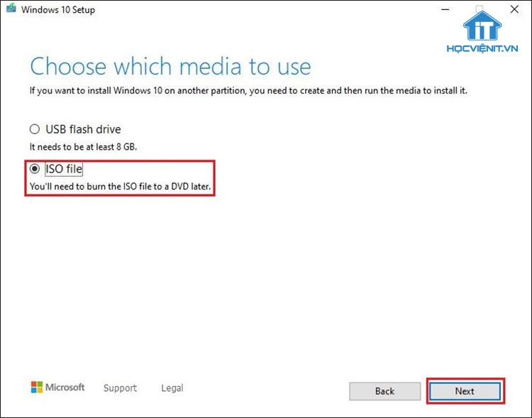 Tick chọn tại ISO file và nhấn Next
