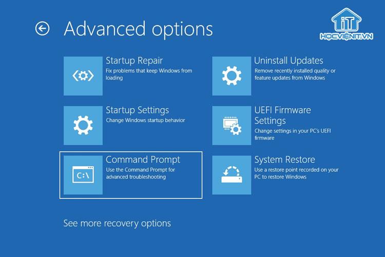 Màn hình Advanced options