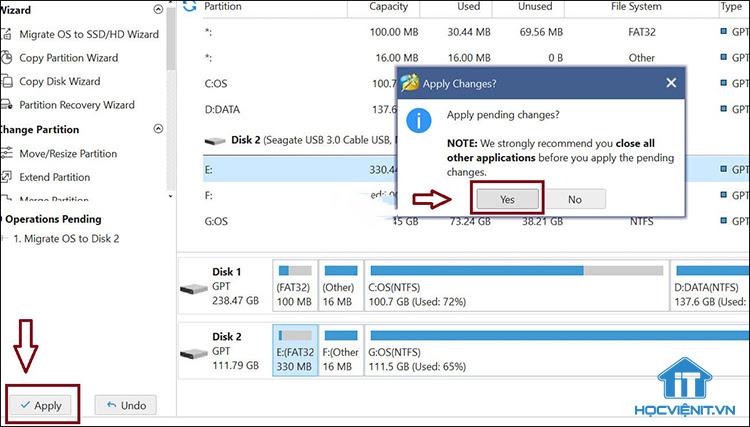 Phần mềm đã sao chép các phân vùng cần thiết sang ổ SSD mới