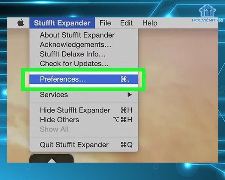 Chọn Preferences tại danh sách StuffIt Expander