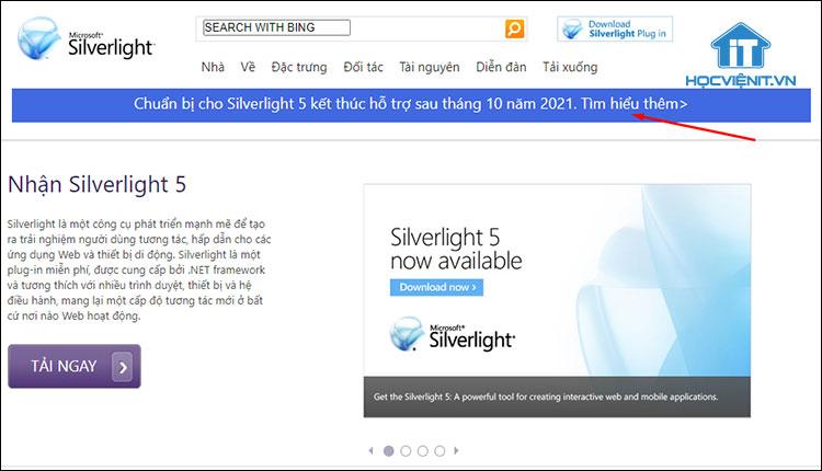 Trang web Silverlight của Microsoft