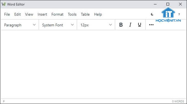 Giao diện của tiện ích Word Editor