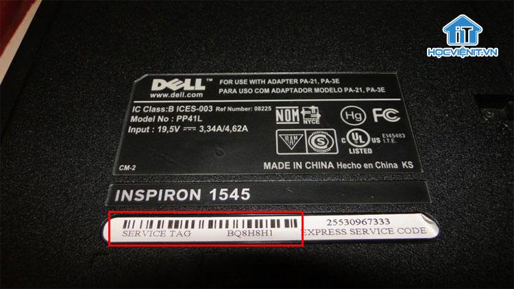 Thông số Service Tag trên laptop Dell